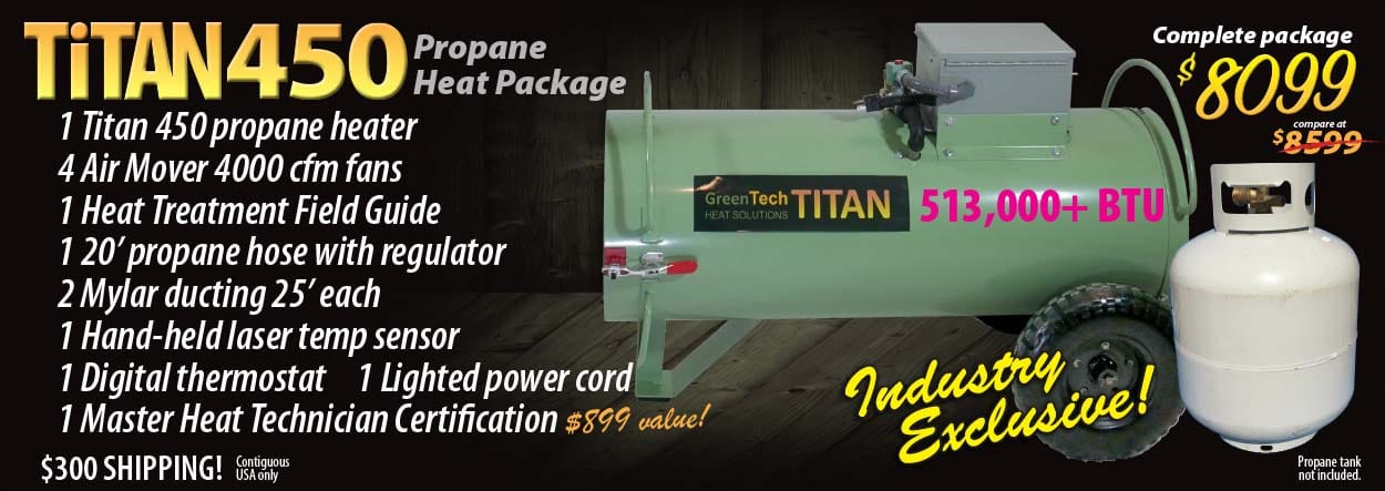 Titan 450 propane bed bug heat treatment system includes Master Heat Technician Certification training