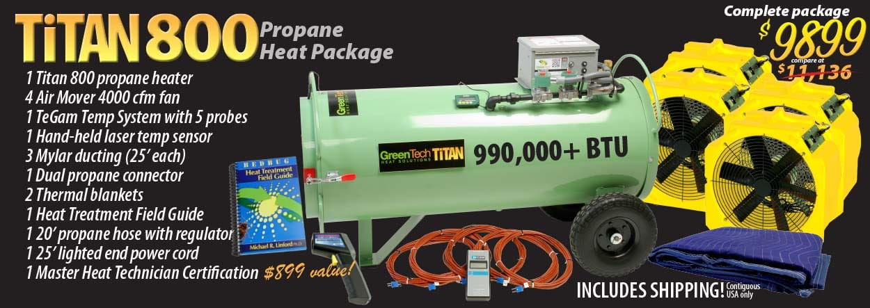 titan propane bed bug heater package includes heater, fans, temperature probes, laser temp sensor, and Master Heat Technician Certification training